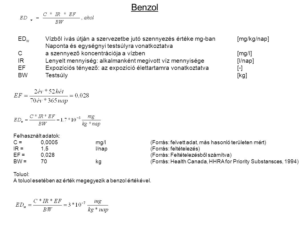 Benzol EDw Vízből ivás útján a szervezetbe jutó szennyezés értéke mg-ban [mg/kg/nap] Naponta és egységnyi testsúlyra vonatkoztatva.